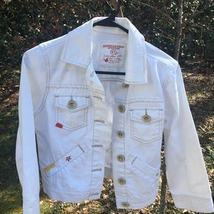 Embroidered white jean jacket